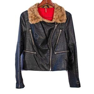 Free People Faux Pebbled Leather Jacket- 12